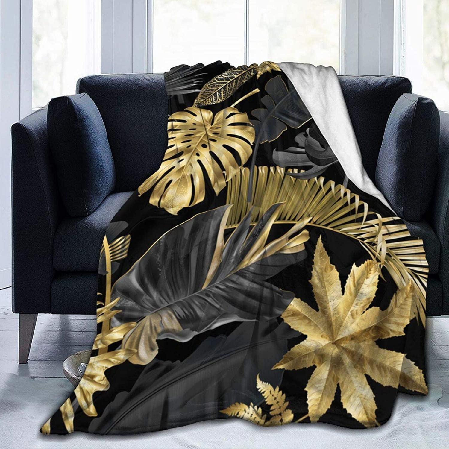 Gold and Genuine Free Shipping Black Tropical Leaves Comfortable Blanket Ranking TOP13 Supe Soft