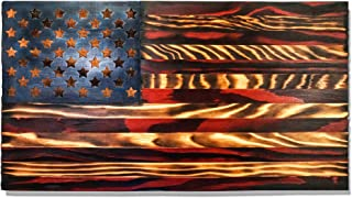 Integrity Bottles Wooden American Flag - Hand-Torched and Distressed Patriotic Wall Art with Laser-Carved Stars - Rustic-Style 24x13-Inch Handmade Wood Decor - Ready to Hang - 100% Made in the USA