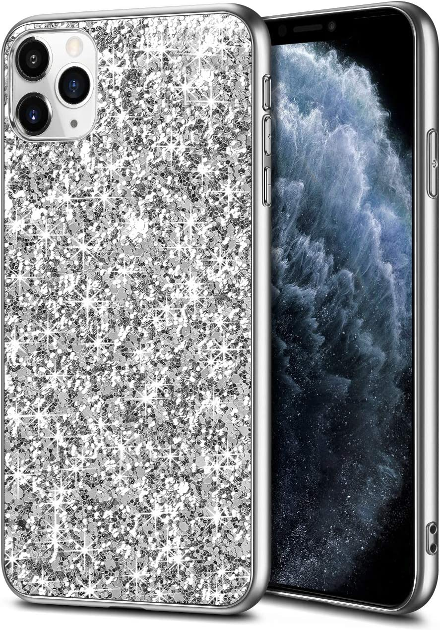 Wollony iPhone 11 Pro Max Case Glitter Sparkle Bling Shiny Cover for Girl Ultra Slim Durable Hybrid TPU Shockproof Bumper Hard Anti-Slip Back Protective Cover for iPhone 11 Pro Max 6.5inch Sliver