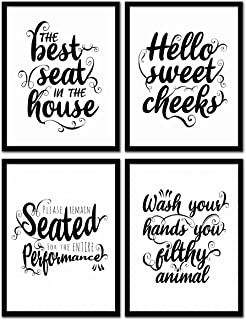 DecorShop Typography Modern Farmhouse Bathroom Decor Wall Art   Set of 4 Unframed 8x10 Prints on Photopaper (8 Designs 2 Sizes)   These Farmhouse Decor for The Home Prints Come in Black and White
