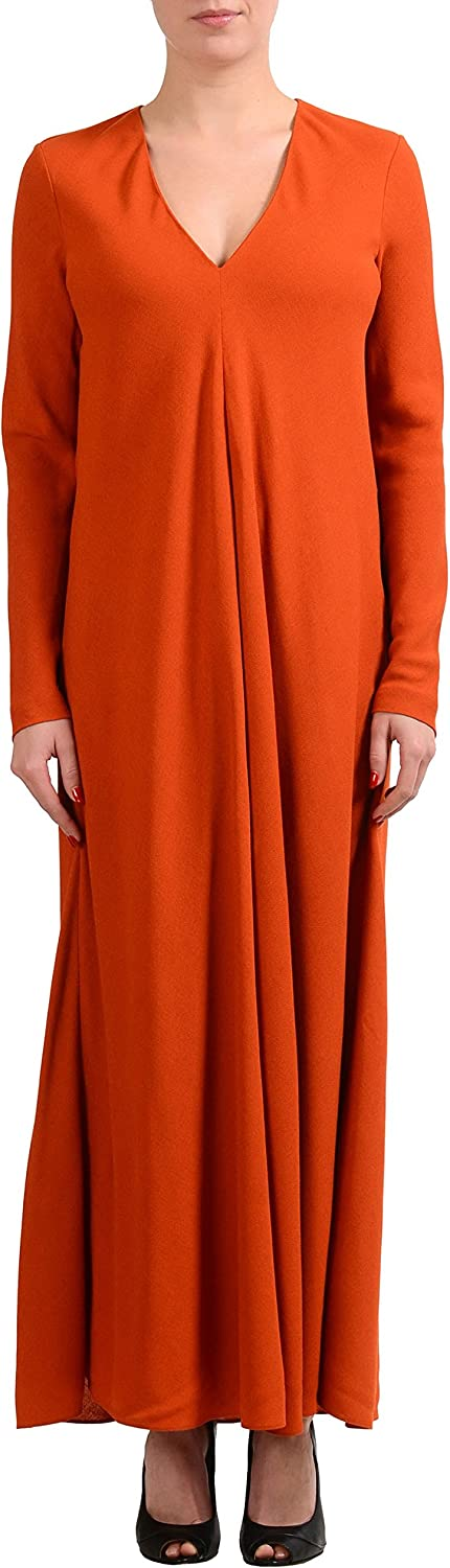 Maison Margiela 4 Wool orange Long Sleeve VNeck Women's Shift Dress US S IT 40