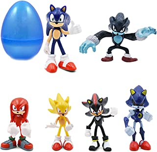 """PARK AVE 6 Sonic Hedgehog Figures with Jumbo Egg Storage, 1.5-2.5"""" Tall Mini Figure Toys for Kids Cupcake Cake Toppers Party Favor Decoration"""