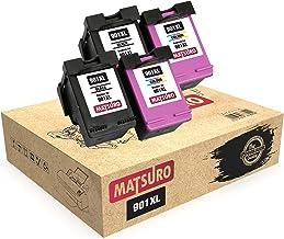 Matsuro Original   Compatible Remanufactured Cartuchos de Tinta Reemplazo para HP 901XL 901 (2 Sets)