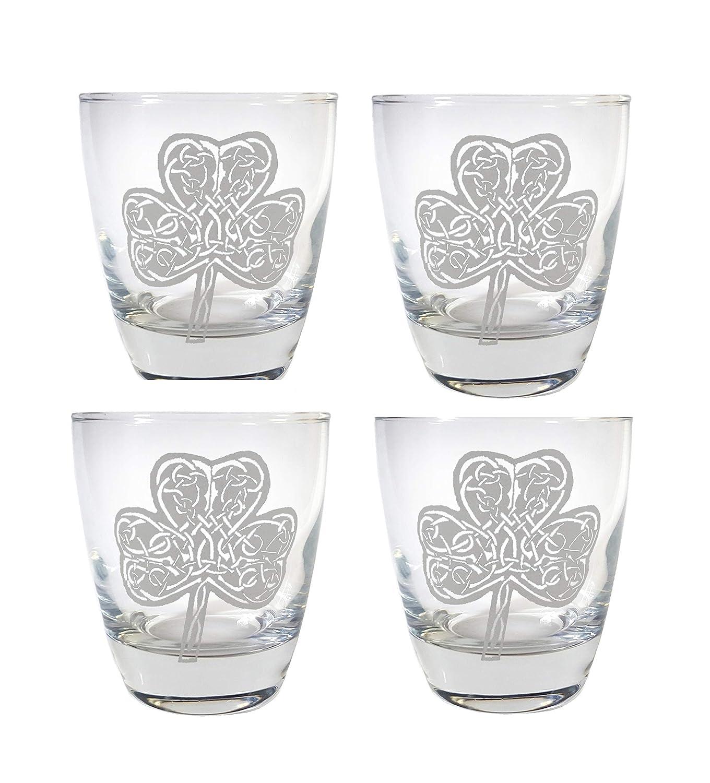 Celtic Bargain Clover Lowball Glass Set 2021 Free 4 of Presonalizat Engraved