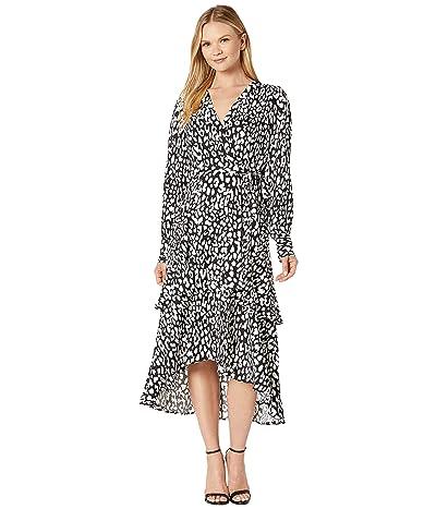 Calvin Klein Printed Faux Wrap Long Sleeve Dress (Black/Cream) Women