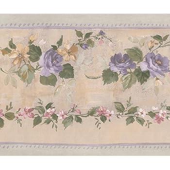 Rose Fleurs des Champs Rose poudr/é Floral vintage papier peint Bordure Design r/étro rouleau de 15/x 10,8/cm