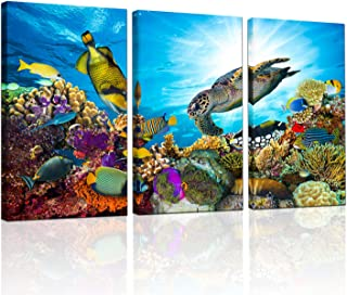 """3 Piece Ocean Canvas Wall Art Painting Underwater Sea Turtle and Tropical Fish Poster Prints Seascape Wall Decor Printed on Canvas Living Room Home Decoration Ready to Hang 16""""x32""""x3panel"""