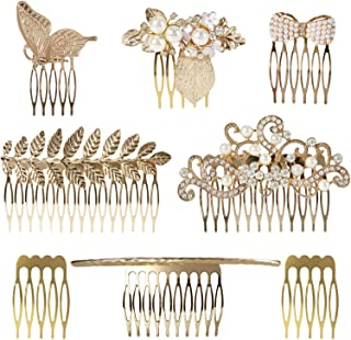 8 Pack Large Gold Crystal Pearl Rhinestone Metal Hair Side Combs Clip With Teeth Grip Clasp Barrettes Pins for Women Bridal Wedding Veil Decorative Headpiece French Twist Updo Vintage Accessories