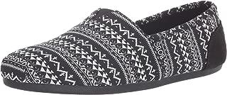 Skechers BOBS Women's Bobs Plush - Boho Winter. Stretch Aztec Knit Slip on W Memory Foam Ballet Flat