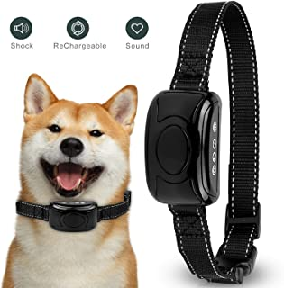 Dog Bark Collar, [2018 Upgrade Version]Dog Bark Collar with Static Vibration Correction Shock Collar USB Rechargeable Smart Detection Chip, Shock for All Dogs IPX7 Waterproof Dog Barking Collar