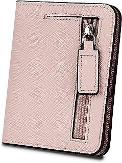 [ヤラックス]YALUXE レディース RFID ブロッキング 小さい コンパクト レザー ウォレット ミニ 財布 ID ウィンドウ クロス ライトピンク