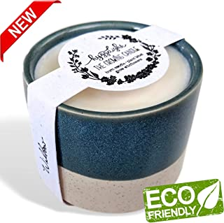 - The Growing Candle - Wildflower Seed Embedded Label, Reuse Ceramic Pot, Grow Flowers, Small Batch Artisan Soy Candle, Eco Friendly Gift, Less Waste, 10oz - Willow - (Sandalwood & Vanilla)