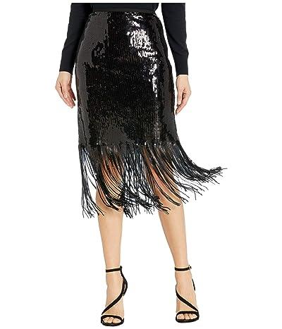 Vince Camuto Fringe Sequin Side Zip Skirt (Rich Black) Women