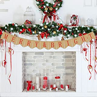 Merry & Bright Banner Burlap | Christmas Decorations Outdoor Indoor | Merry and Bright Christmas Banner | Holiday Decorations| Xmas Decor | Perfect for Home Mantel Fireplace