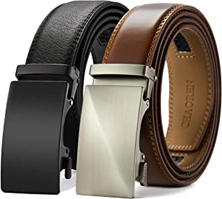 """Leather Ratchet Belt 2 Pack Dress with Click Sliding Buckle 1 3/8"""" in Gift Set Box - Adjustable Trim to Fit"""