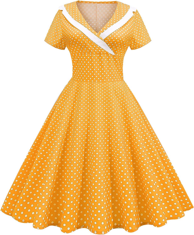 Womens Polk Dot Dresses 1950's Womens Vintage Wrap V Neck Mini Dress Casual High Waisted Cocktails Party Dresses