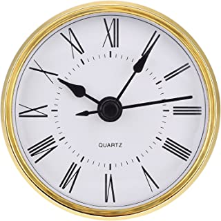 Hicarer 2.8 Inch (70 mm) Roman Numeral Quartz Clock Insert with Gold Trim