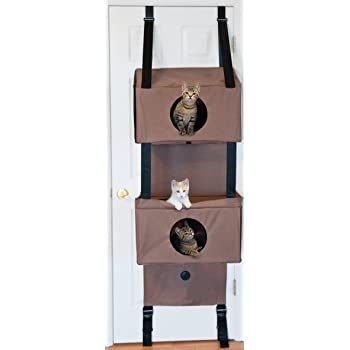 """K&H PET PRODUCTS Pet Products Hangin' Feline Funhouse Small Tan 57"""" x 22"""" x 12"""" Cat Furniture"""