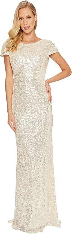 Badgley Mischka - Cap Sleeve Cowl Back