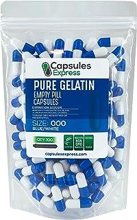 Capsules Express- Size 000 Blue and White Empty Gelatin Capsules - Kosher - Pure Gelatin Pill Capsule - DIY Powder Filling...