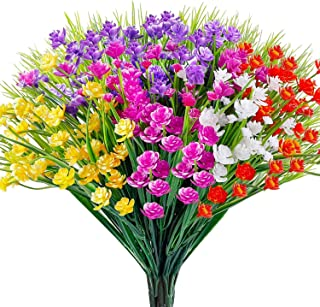 WXBOOM Artificial Flowers 10 Bundles Fake Outdoor Flowers Lifelike Plastic Flowers for Indoor Outdoors Home Office Garden Wedding Decorations,( Yellow/ Purple/ Orange Red/ White/ Fuchsia