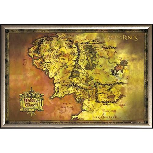 9b5e8858305 Framed Lord Of The Rings (Map Of Middle Earth) 36x24 Poster In Gold Finish