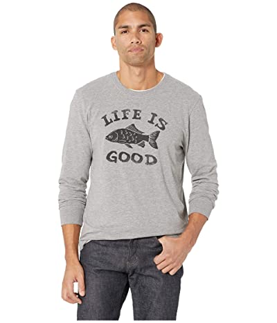 Life is Good LIG Fish Crusher Long Sleeve T-Shirt (Heather Gray) Men