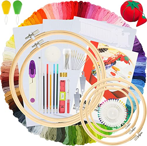 Similane Embroidery Kit 215 Pcs,100 Colors Threads,5 Pcs Embroidery Hoops,3 Pcs Aida Cloth,40 Sewing Pins,Cross Stitc...