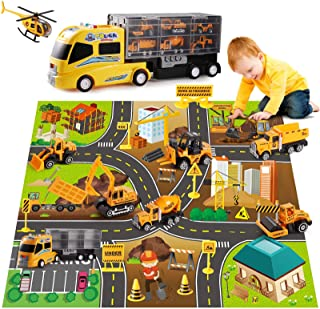 DOLIVE Construction Die-cast Car Toys Kids Alloy Metal Vehicles Play Mat Set,Excavator Cement Dump Truck Tractor Helicopte...