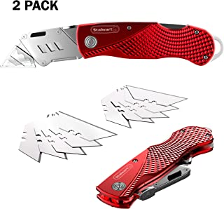 Stalwart Folding Utility Knife Set– Retractable Box Cutter with Aluminum Body, Lock Back, Quick Release Blade, Belt Clip, 10 Extra Blades (2 Pack)
