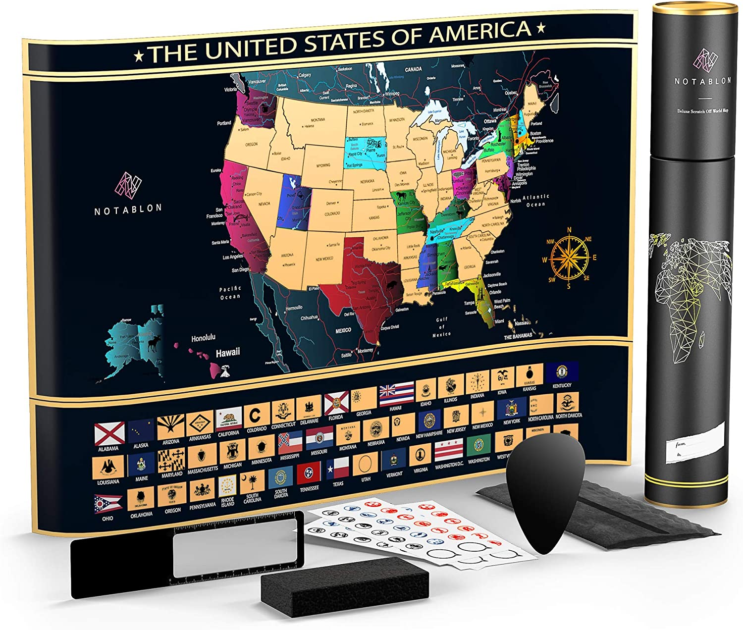 Scratch Off New life Map of The United States - Trave Kansas City Mall Deluxe Personalized