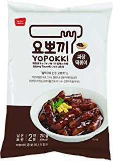 Instant Topokki Rapokki Rice Cake with Ramen Noodles Popular Korean Food Various Flavors ??? ??? (Black Soybean Sauce_Topokki, 240g 1 Pouch (2 Servings))