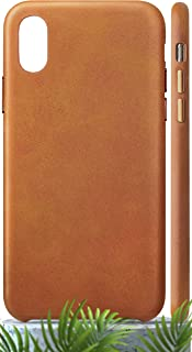 LONLI Basic | New Innovation Eco-Friendly Leather Case | Japanese Microfiber, Anti-Scratch Coating and Waterproof (Caramel Basic, iPhone X)