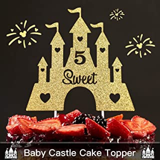 Five Years Old castle Gold Glitter Cake Topper – 5th Sweet Happy Birthday For Baby Shower Party Princess Castle Turret Decorations Supplies