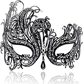 FaceWood Masquerade Mask for Women Ultralight Metal Mask Shiny Metal Rhinestone Venetian Pretty Party Evening Prom Ball Mask.