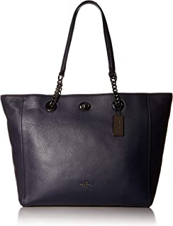 COACH Women's Polished Pebble Leather Turnlock Chain Tote
