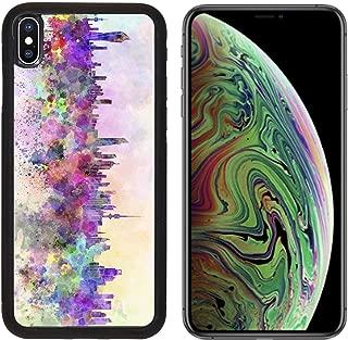 Liili Premium Apple iPhone Xs MAX Aluminum Backplate Bumper Snap Case Image ID: 24685101 Kuwait City Skyline in Watercolor