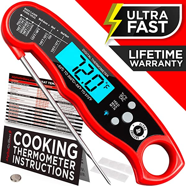 Alpha Grillers Instant Read Meat Thermometer For Grill And Cooking Upgraded With Backlight And Waterproof Body Best Ultra Fast Digital Kitchen Probe Includes Internal BBQ Meat Temperature Guide