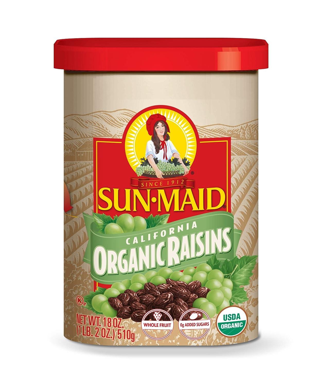 Sun-Maid Organic Raisins - Dried Fruit Snacks - Healthy Snacks For Kids- 32oz or 64oz (18 Ounce (Pack of 1))