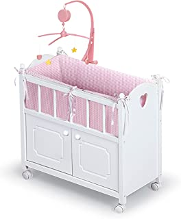 Badger Basket Cabinet Doll Crib with Gingham Bedding, Musical Mobile, Wheels, and Free Personalization Kit (fits American Girl Dolls)