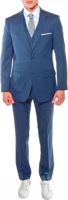 Ferrecci Men's Savannah Collection Indigo Slim Fit 3 Piece Suit Jacket with Vest and Trousers - 38S
