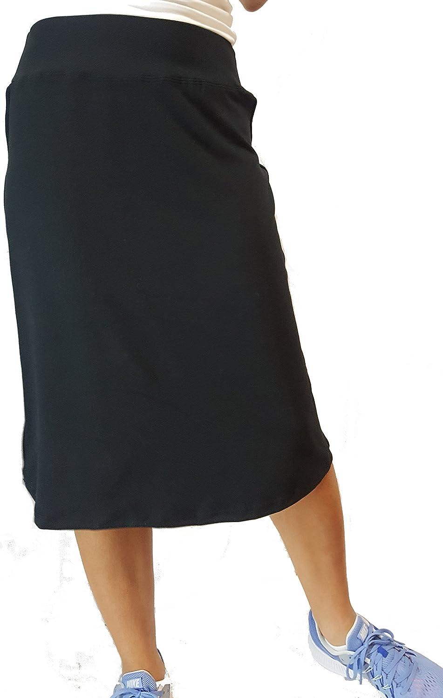 B. Ready Women's Midi Length Flare Stretch Skirt