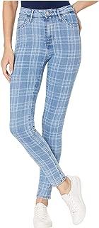 plaid denim jeans