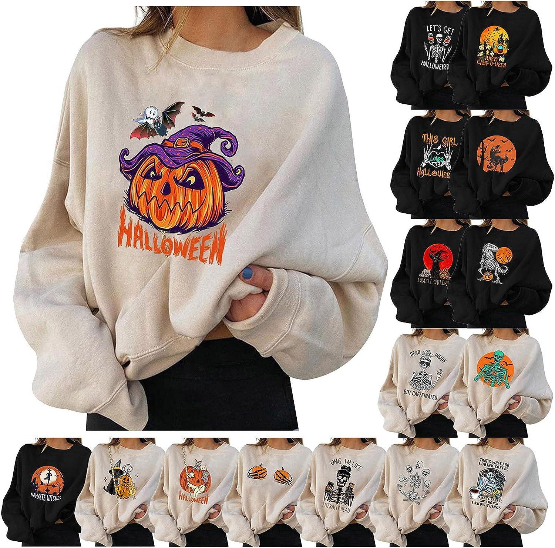 Women Halloween Long Sleeve Pullover Tops Funny Pumpkin Animal Cat Ghost Graphic Tops Lightweight Coat