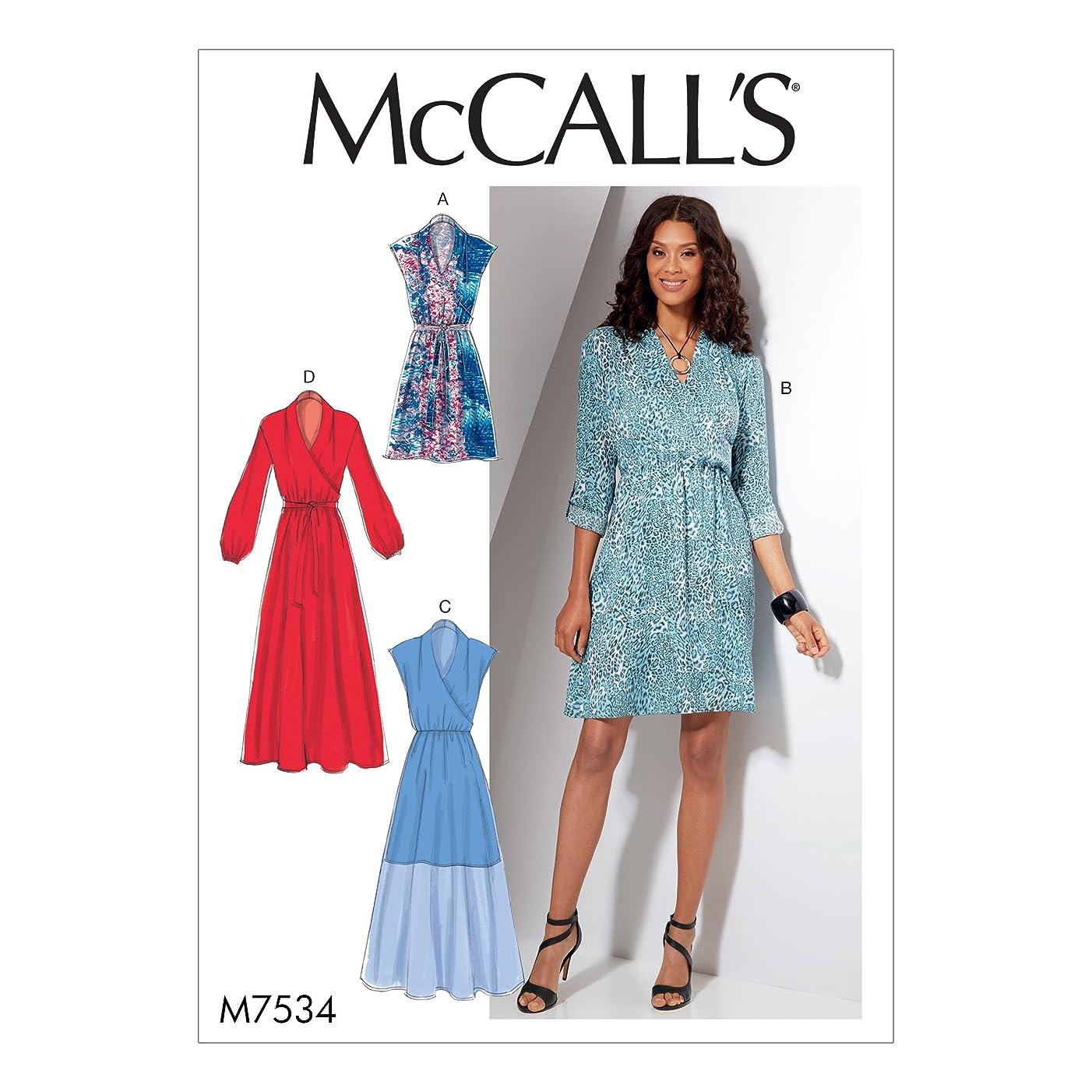 MCCALLS M7534 Misses' Mock-Wrap Dresses (SIZE 6-24) SEWING PATTERN