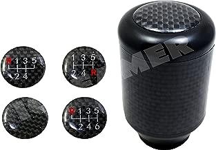ICBEAMER Racing Style Matte Black Aluminum Carbon Fiber Manual Shifter Gear Shift Knob 5 6 Speeds Pattern Free Return
