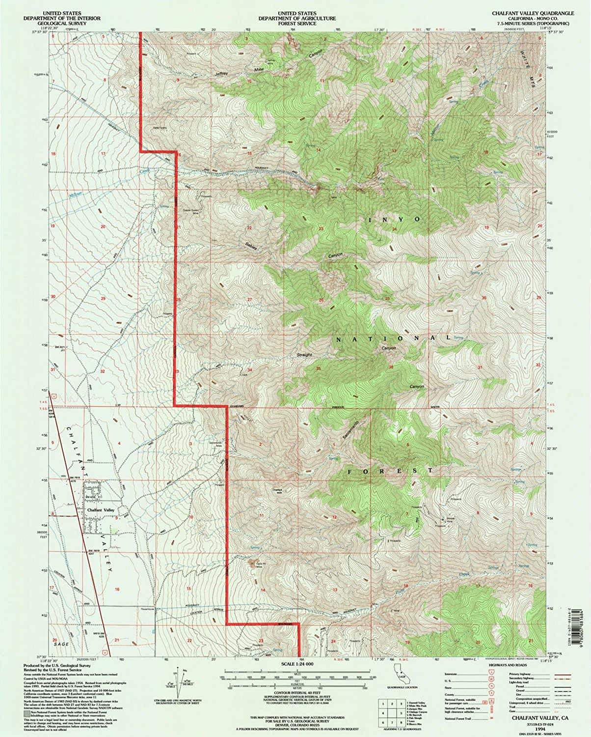 Chalfant Valley CA topo map, 1 24000 Scale, 7.5 X 7.5 Minute, Historical, 1994, Updated 1997, 26.7 x 21.4 in