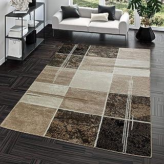 T&T Design Alfombra Salón Moderna Económica Diseño Cuadros Marrón Beige Crema Mejor Precio, Größe:190x280 cm