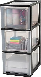 Iris Ohyama, tour de rangement 3 tiroirs - Organizer Chest - OCH-2300, plastique, noir/transparent, 39 L, 26 x 35,5 x 60,2 cm