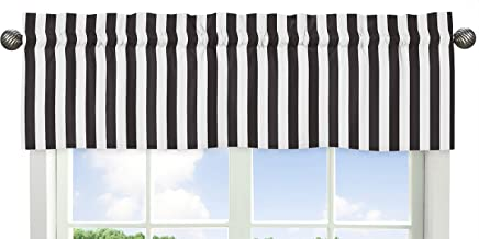 Sweet Jojo Designs Black and White Stripe Window Valance for Paris Collection